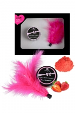 Coffret poudre comestible et plumeau : Coffret cadeau coquin comprenant une poudre comestible parfum fraise et un plumeau à caresses, par Secret Play.