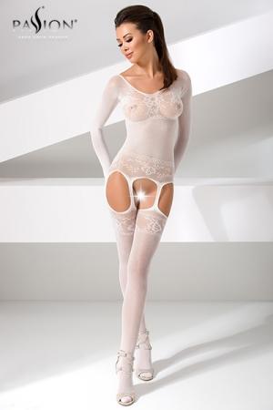 Combinaison BS055 - Blanc : Combinaison sexy à manches longues, fourreau blanc de résille décorée d'un motif floral.