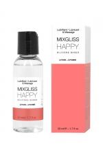 Mixgliss silicone - Litchi - 50ml : Fluide 2 en 1 massage et lubrifiant riche en silicone, parfum litchi.