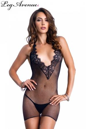 Mini robe résille dos nu : Mini robe résille dos nu avec décolleté en V plongeant.