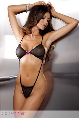 Body sexy Erica : Body sexy ajour�, �troitement ajust� gr�ce aux sangles �lastiques ajustables qui forment un harnais �rotique provocant.